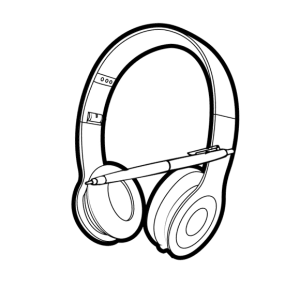 logo - a pair of headphones with a pen lying across them