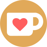 A round button from ko-fi, a little coffe cup with a heart on it